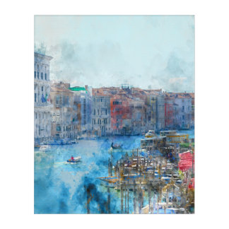 Boats in the Grand Canal in Venice Italy Acrylic Wall Art