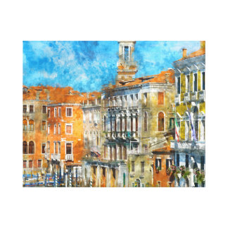 Boats in the Grand Canal in Venice Italy Canvas Print