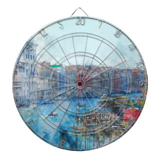 Boats in the Grand Canal in Venice Italy Dartboard