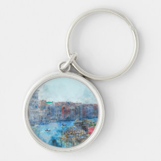 Boats in the Grand Canal in Venice Italy Key Ring