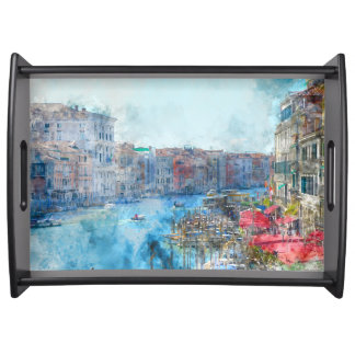 Boats in the Grand Canal in Venice Italy Serving Tray
