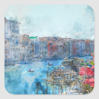 Boats in the Grand Canal in Venice Italy Square Sticker