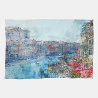 Boats in the Grand Canal in Venice Italy Tea Towel