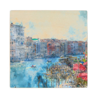 Boats in the Grand Canal in Venice Italy Wood Coaster