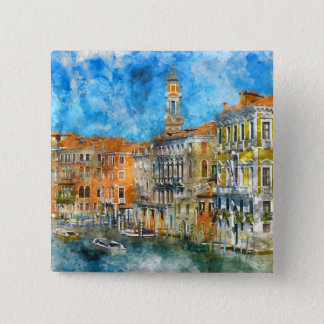 Boats in the Grand Canal of Venice Italy 15 Cm Square Badge