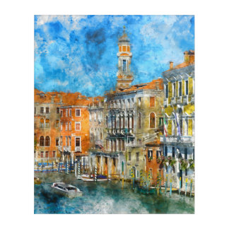 Boats in the Grand Canal of Venice Italy Acrylic Wall Art