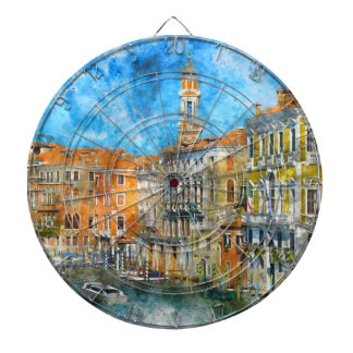 Boats in the Grand Canal of Venice Italy Dartboard