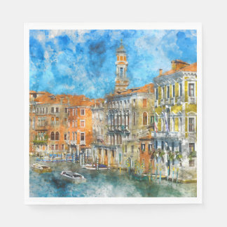Boats in the Grand Canal of Venice Italy Disposable Serviettes