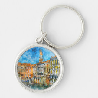 Boats in the Grand Canal of Venice Italy Key Ring