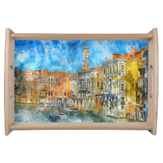 Boats in the Grand Canal of Venice Italy Serving Tray