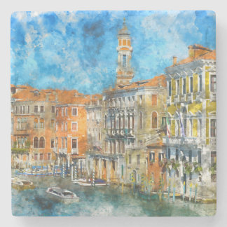 Boats in the Grand Canal of Venice Italy Stone Coaster