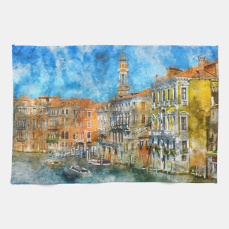 Boats in the Grand Canal of Venice Italy Tea Towel