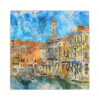 Boats in the Grand Canal of Venice Italy Wood Coaster