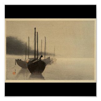 Boats in the Mist by Seitei Watanabe 1851- 1918 Poster