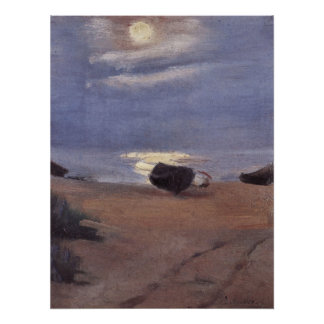 Boats in the moonlight on South Beach -Anna Ancher Posters