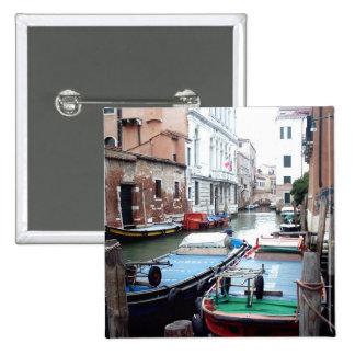 Boats in Venice 15 Cm Square Badge