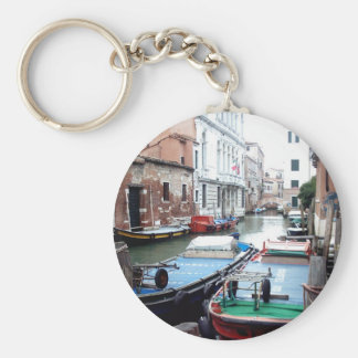 Boats in Venice Basic Round Button Key Ring
