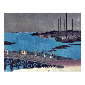 Boats moored near Eitai Bridge by Andō, Hiroshige Postcard