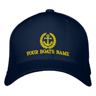 Boats name with sailors anchor motif embroidered hat