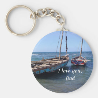 "Boats on an Ocean, ""I Love You, Dad"" Keychain"