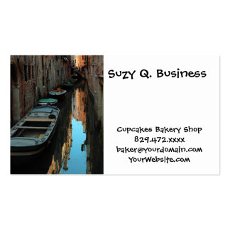 Boats on Canal Water Venice Italy Buildings Business Card Templates