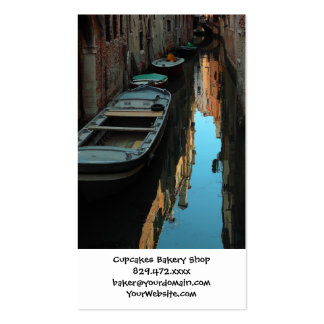 Boats on Canal Water Venice Italy Buildings Business Card Template