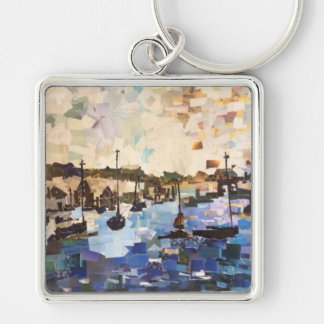 Boats On Lake Erie Paper Collage Key Chain
