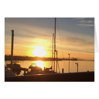 Boats on Marina at Sunset Card