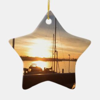 Boats on Marina at Sunset Ceramic Ornament