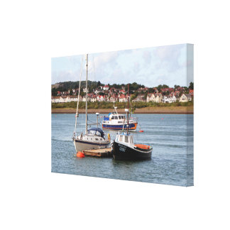 Boats on River Conwy, Wales Canvas Print
