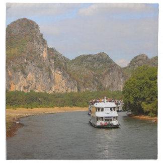 Boats on the Li River, China Napkin