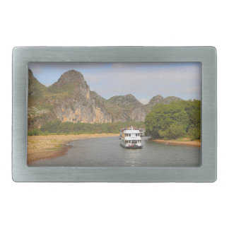 Boats on the Li River, China Rectangular Belt Buckles