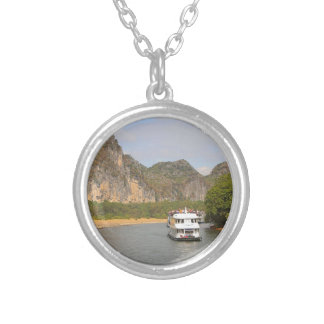 Boats on the Li River, China Silver Plated Necklace