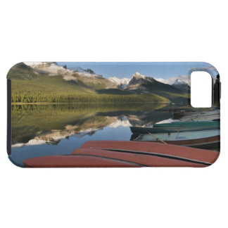Boats parked on the lakeshore of Maligne Lake, iPhone 5 Case