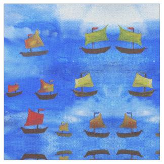 Boats watercolor Blue Sea Combed Cotton Fabric