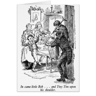 Bob and Tiny Tim (with text) Greeting Card