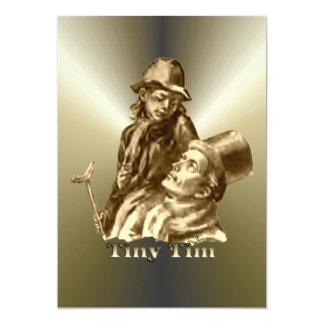 Bob Cratchit and Tiny Tim Christmas Carol 13 Cm X 18 Cm Invitation Card