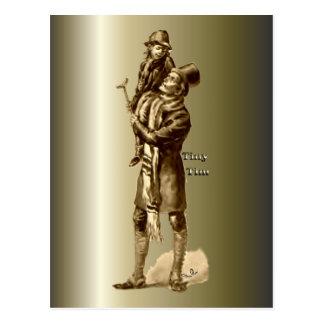 Bob Cratchit and Tiny Tim Christmas Carol Postcard