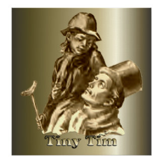 Bob Cratchit and Tiny Tim Christmas Carol Print