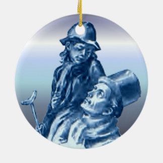 Bob Cratchit and Tiny Tim Christmas Carol Round Ceramic Decoration
