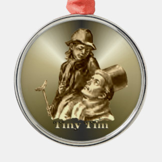 Bob Cratchit and Tiny Tim Christmas Carol Silver-Colored Round Decoration