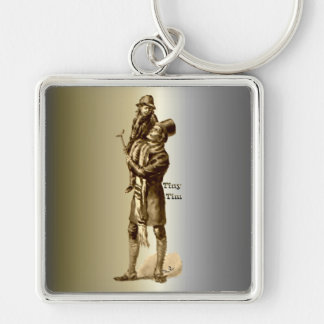 Bob Cratchit and Tiny Tim Christmas Carol Silver-Colored Square Key Ring