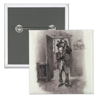 Bob Cratchit and Tiny Tim, from 'Charles Dickens: 15 Cm Square Badge