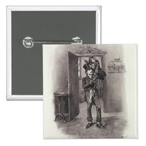 Bob Cratchit and Tiny Tim, from 'Charles Dickens: Pinback Button