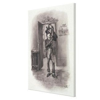 Bob Cratchit and Tiny Tim, from 'Charles Dickens: Stretched Canvas Print