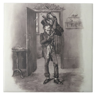 Bob Cratchit and Tiny Tim, from 'Charles Dickens: Large Square Tile