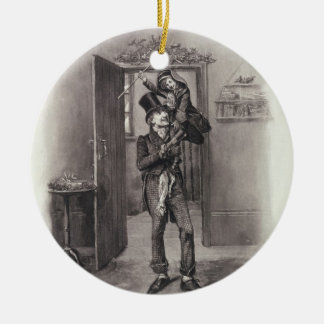 Bob Cratchit and Tiny Tim, from 'Charles Dickens: Round Ceramic Decoration