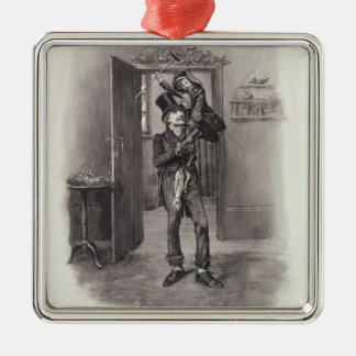 Bob Cratchit and Tiny Tim, from 'Charles Dickens: Silver-Colored Square Decoration