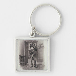 Bob Cratchit and Tiny Tim, from 'Charles Dickens: Silver-Colored Square Key Ring