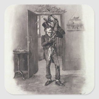 Bob Cratchit and Tiny Tim from Charles Dickens Stickers